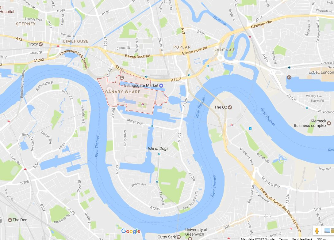 Canary Wharf E14 Map