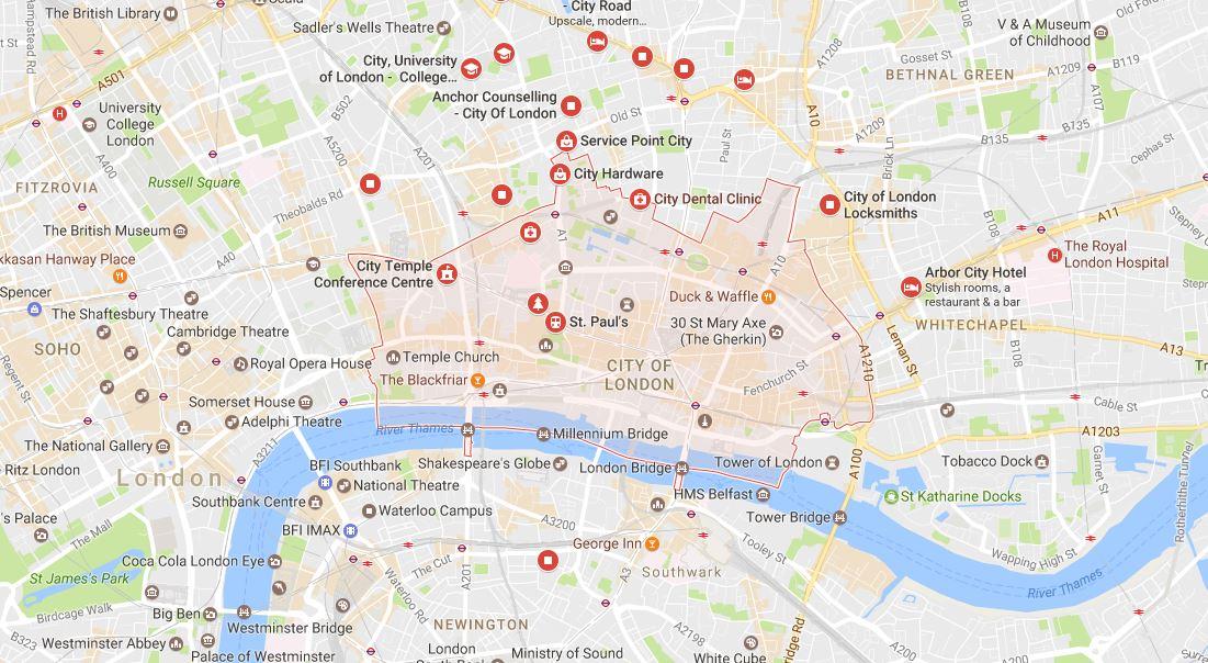 City of London EC1 Map