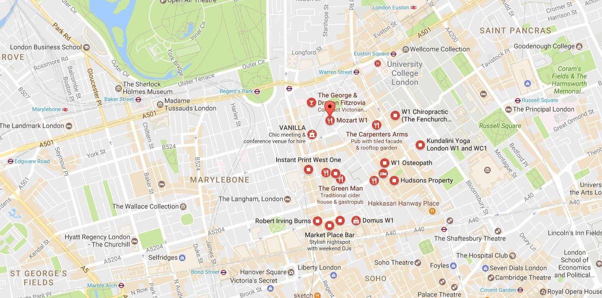 Fitzrovia W1 London Map