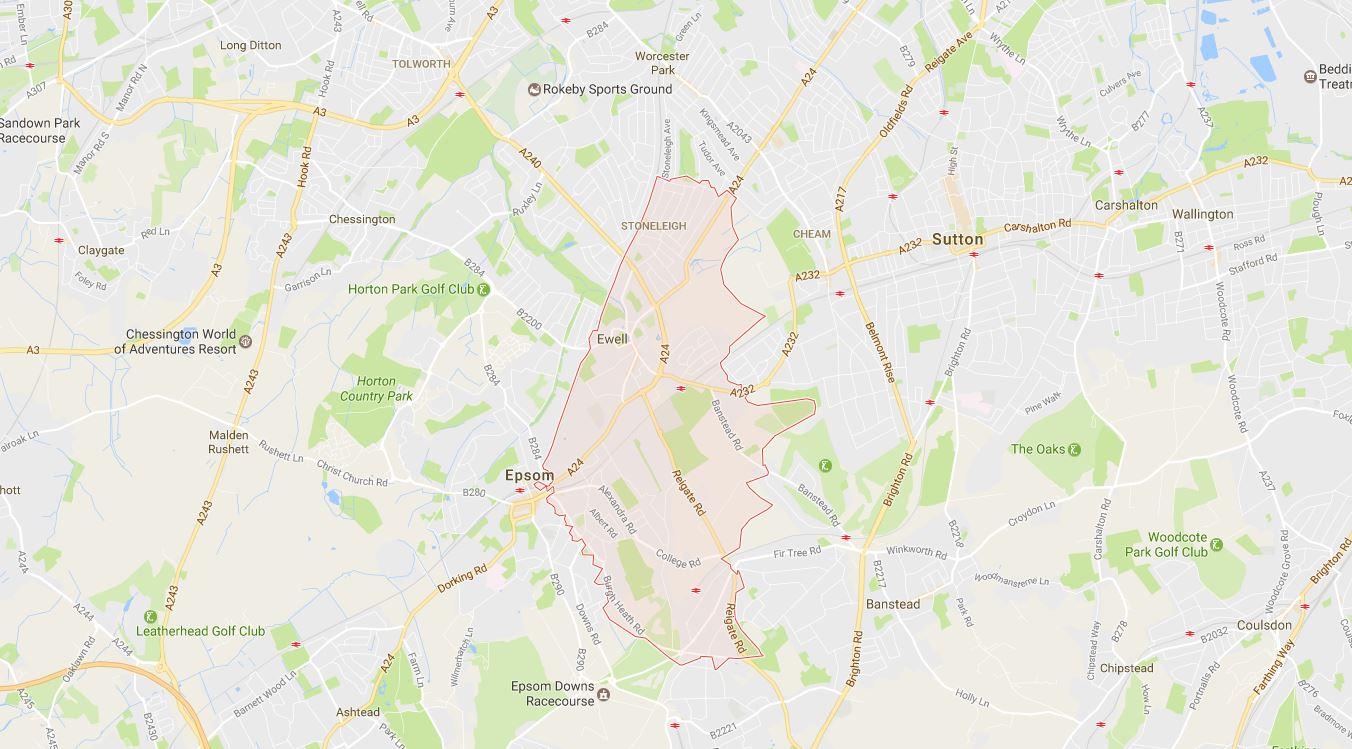 Epsom KT17 Surrey Map