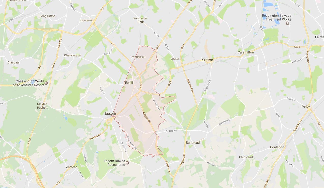 Ewell Town KT17 Map