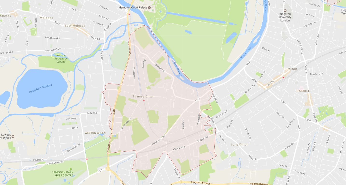 Thames Ditton KT7 Map